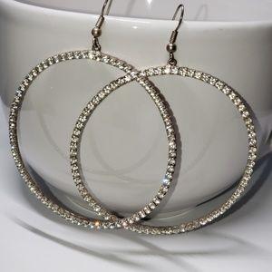 "Jewelry - 3"" Rhinestone Hoop Earrings"